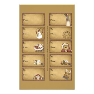 Santa & Friends Gift Tags on a Sheet - 10 Designs