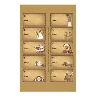 Santa & Friends Gift Tags on a Sheet - 10 Designs 14 Cm X 21.5 Cm Flyer