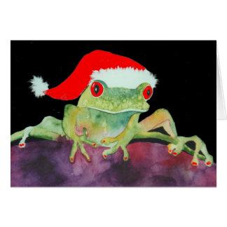 Santa frog Christmas card