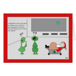 Santa Full of Milk & Cookies Christmas Card