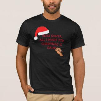 Santa gains letter black t-shirt