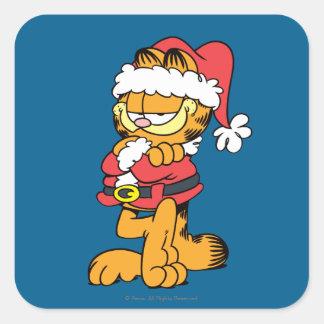 Santa Garfield Square Stickers