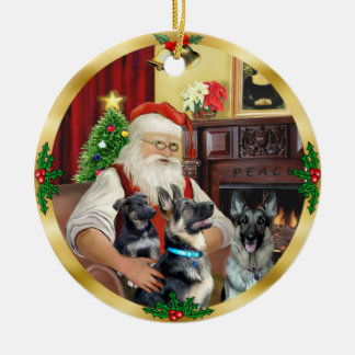 Santa / German Shepherd and Pup Round Ceramic Decoration