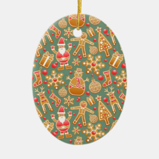 Santa Gingerbread Pattern Ceramic Oval Decoration