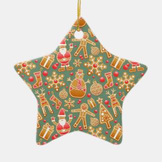 Santa Gingerbread Pattern Ceramic Star Decoration