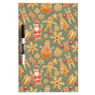 Santa Gingerbread Pattern Dry Erase Board