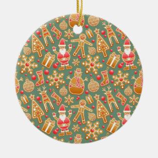 Santa Gingerbread Pattern Round Ceramic Decoration