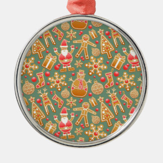 Santa Gingerbread Pattern Silver-Colored Round Decoration
