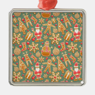 Santa Gingerbread Pattern Silver-Colored Square Decoration