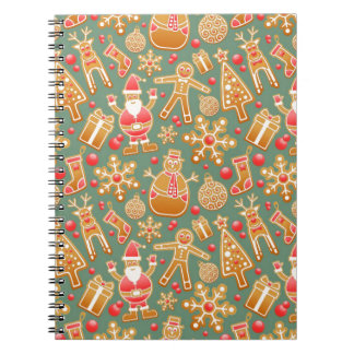 Santa Gingerbread Pattern Spiral Notebooks
