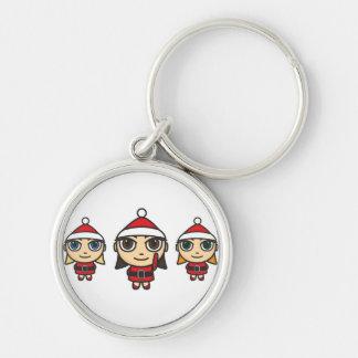 Santa Girls Cartoon Keychain/Keyring Silver-Colored Round Key Ring