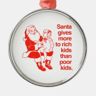Santa gives more to rich kids Silver-Colored round decoration