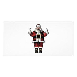 Santa Giving the Finger Photo Card