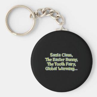 Santa_GlobalWarming_btn_Blk Keychains