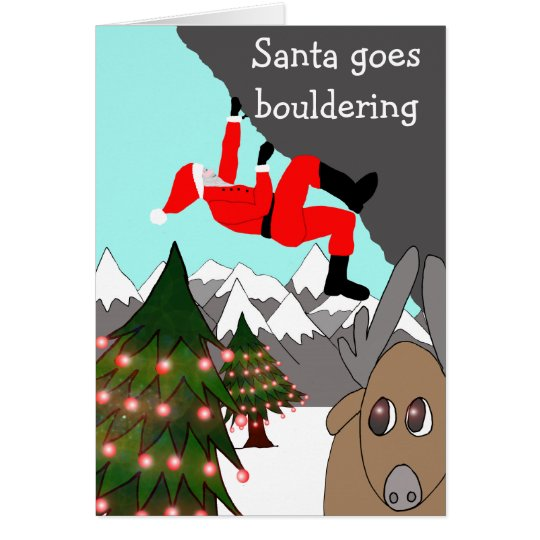 Santa goes bouldering Christmas card