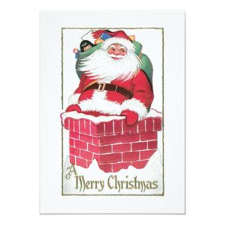 Santa Going Down the Chimney Vintage Card 13 Cm X 18 Cm Invitation Card