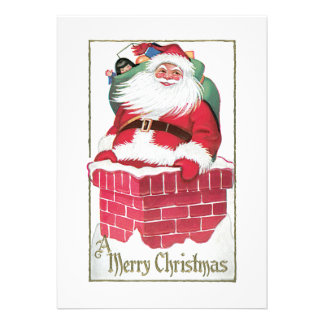 Santa Going Down the Chimney Vintage Card Personalized Invitation