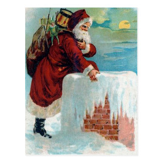 Santa Going Down the Chimney Vintage Christmas Postcard