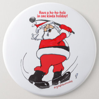 Santa golfing Christmas gifts. 6 Cm Round Badge
