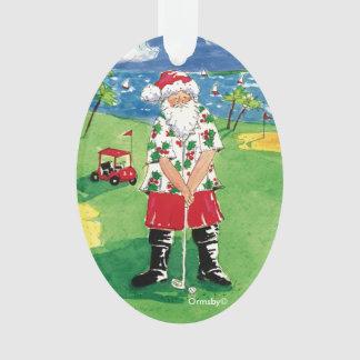 Santa golfing Christmas ornament