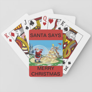 Santa Golfing on a deck of playing cards