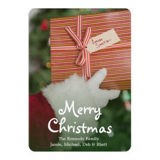 Santa hand holding gift 13 cm x 18 cm invitation card