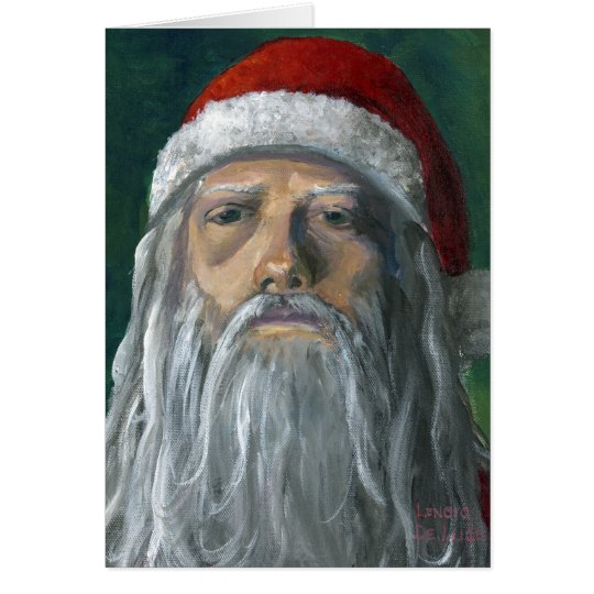 Santa, Hand Painted, Stern Face Card