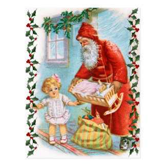 Santa Handing Out Christmas Presents Postcard