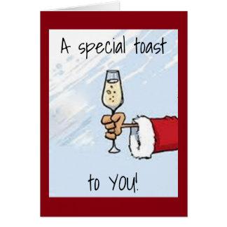 """SANTA HAS A """"SPEICAL"""" BIRTHDAY/CHRISTMAS TOAST GREETING CARD"""