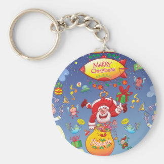 Santa has a Zeppelin to Deliver Christmas Gifts Basic Round Button Key Ring