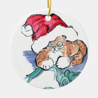 Santa' Hat atop a Tiger Kitten ribbon attack Round Ceramic Decoration