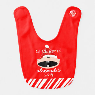 Santa Hat Baby's First Christmas Personalized Bibs