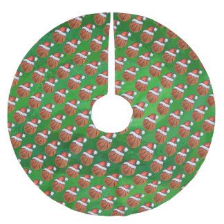 Santa Hat Basketball on Green Brushed Polyester Tree Skirt