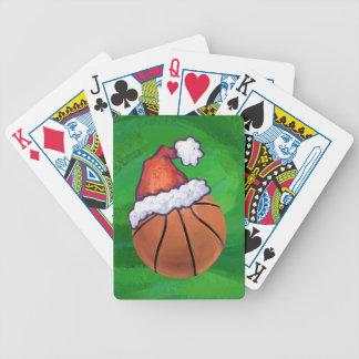 Santa Hat Basketball on Green Poker Deck