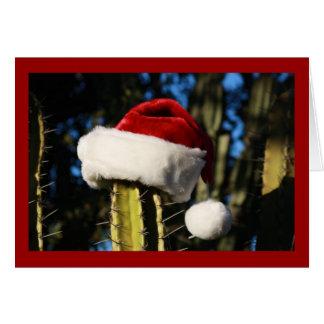 Santa hat cactus card