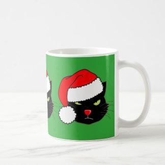Santa Hat Cat Basic White Mug