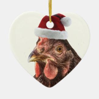 Santa Hat Chicken Ceramic Heart Decoration