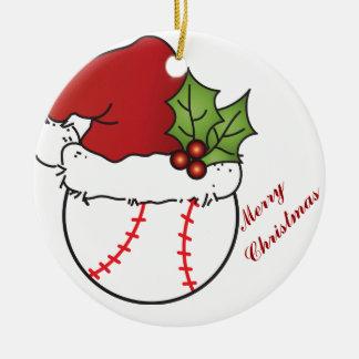 Santa Hat  Christmas Baseball Christmas Ornament