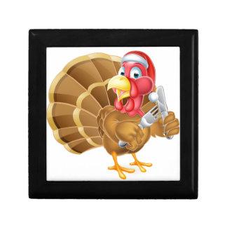 Santa Hat Christmas Cartoon Turkey Holding Knife a Small Square Gift Box