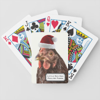 Santa Hat Christmas Chicken Bicycle Playing Cards
