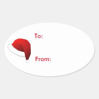 Santa Hat Christmas Holiday Gift Tag Sticker