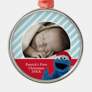 Santa Hat Cookie Monster | Add Your Name Silver-Colored Round Decoration