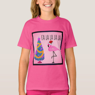 Santa Hat Flamingo Girl's T-Shirt