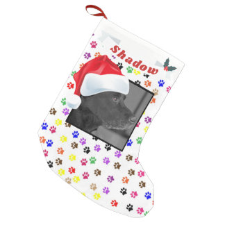Santa Hat for Dog Photo Paw Print Name Small Christmas Stocking