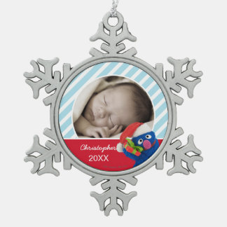 Santa Hat Grover | Add Your Name Snowflake Pewter Christmas Ornament
