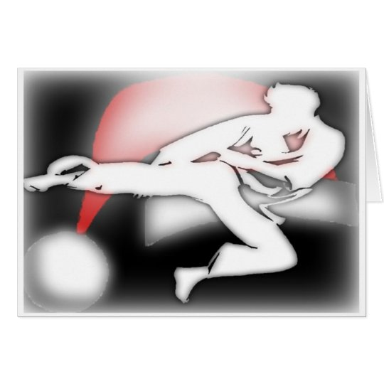 Santa Hat Kicker Martial Arts Greeting Card