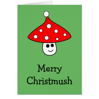 Santa Hat Mushroom Card