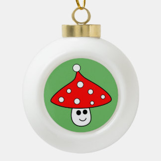 Santa Hat Mushroom Ceramic Ball Ornament