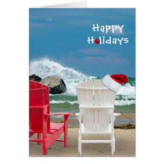 Santa hat on beach chair card