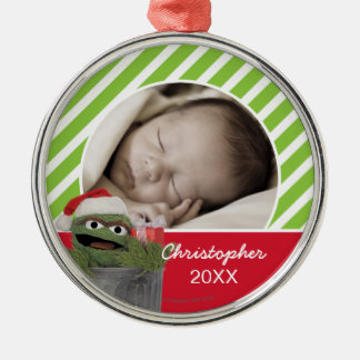 Santa Hat Oscar the Grouch | Add Your Name Christmas Ornament